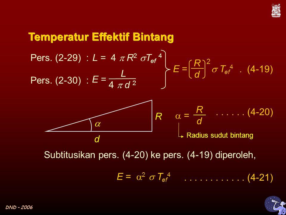 DND - 2006  L = 4  R 2  T ef 4 E = L 4  d 2 Temperatur Effektif Bintang Pers.