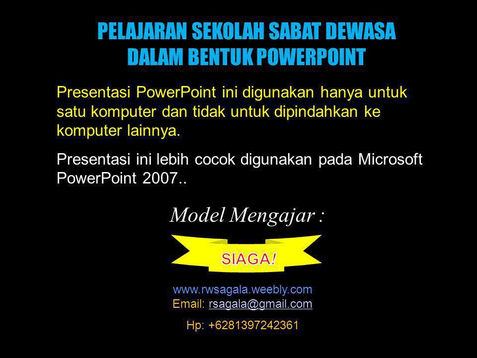Black PELAJARAN SEKOLAH SABAT DEWASA DALAM BENTUK POWERPOINT Presentasi PowerPoint ini digunakan hanya untuk satu komputer dan tidak untuk dipindahkan ke komputer lainnya.