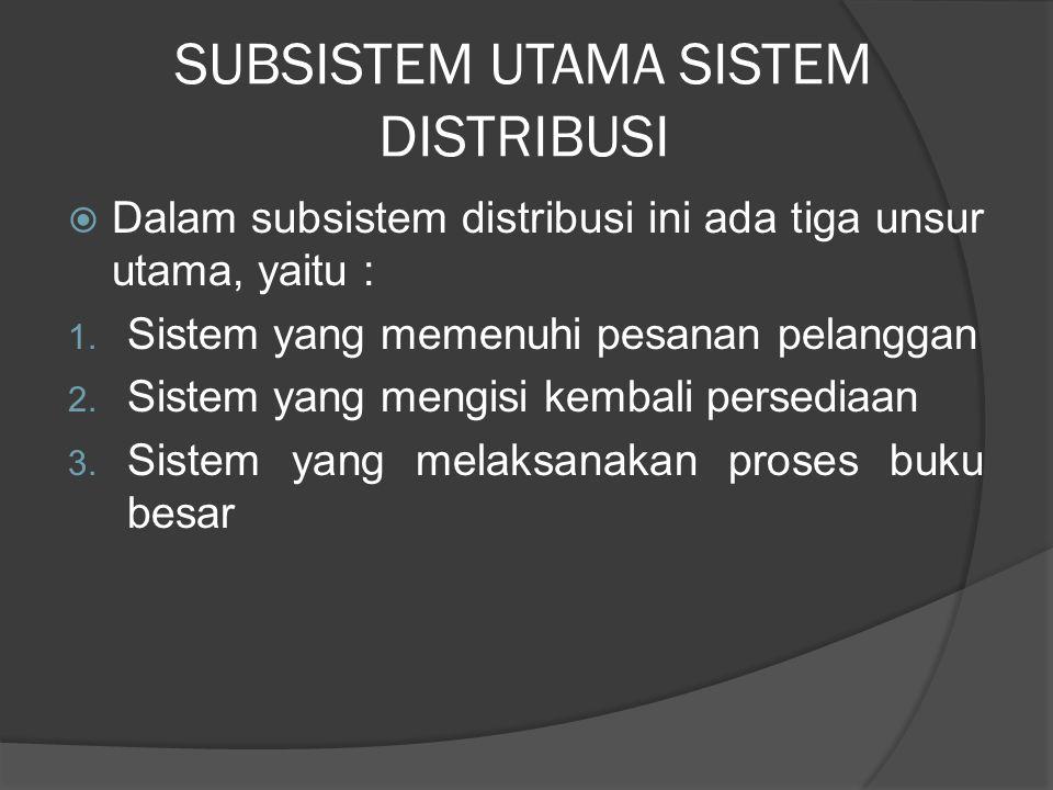 SUBSISTEM UTAMA SISTEM DISTRIBUSI  Dalam subsistem distribusi ini ada tiga unsur utama, yaitu : 1. Sistem yang memenuhi pesanan pelanggan 2. Sistem y
