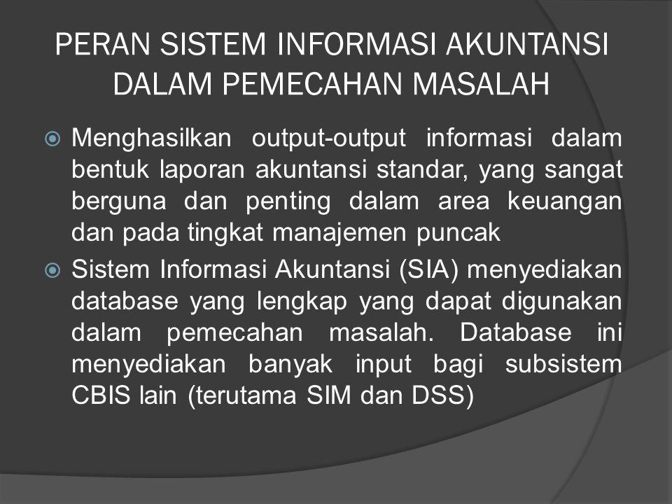 PERAN SISTEM INFORMASI AKUNTANSI DALAM PEMECAHAN MASALAH  Menghasilkan output-output informasi dalam bentuk laporan akuntansi standar, yang sangat be