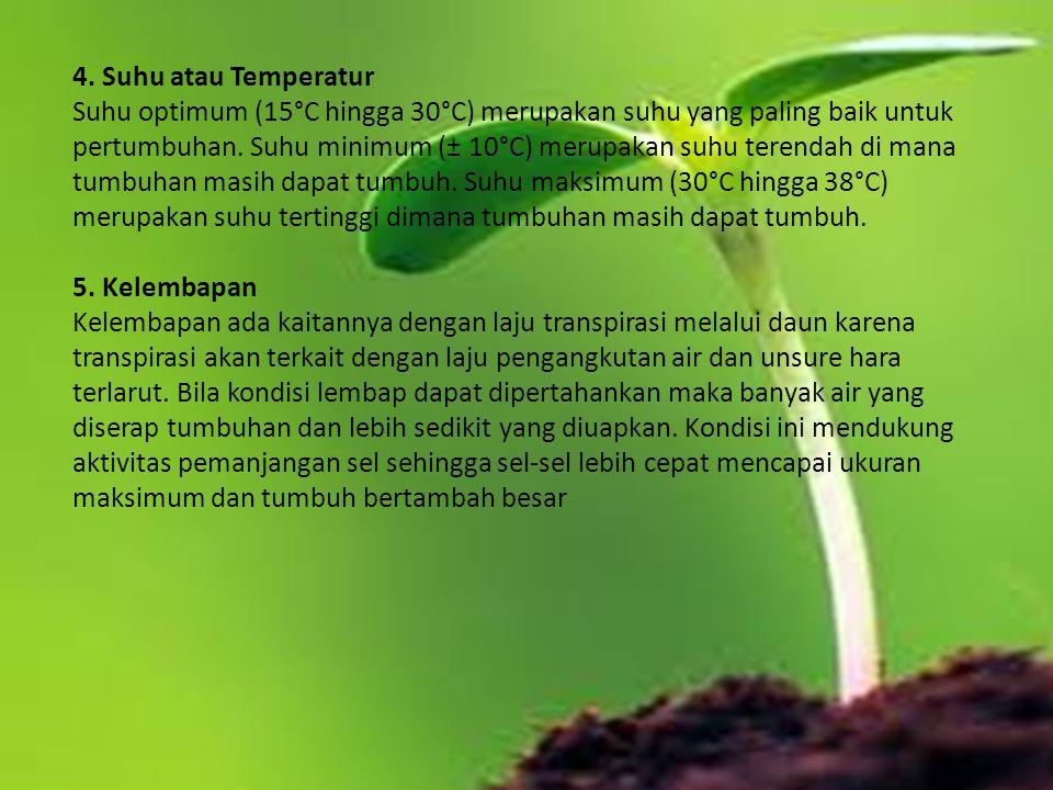 4. Suhu atau Temperatur Suhu optimum (15°C hingga 30°C) merupakan suhu yang paling baik untuk pertumbuhan. Suhu minimum (± 10°C) merupakan suhu terend