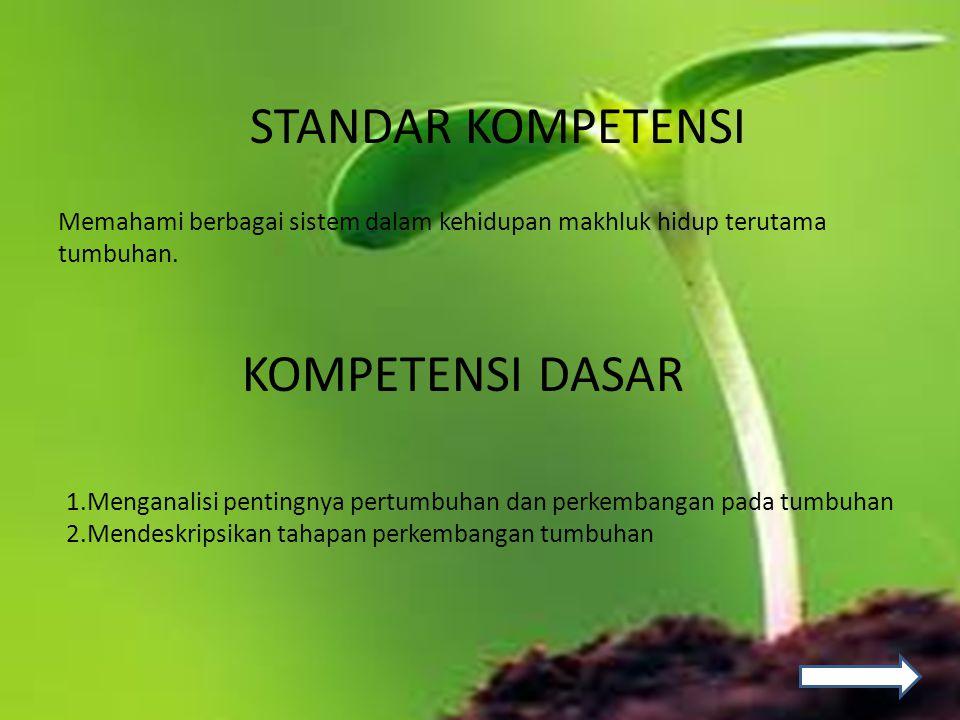 STANDAR KOMPETENSI KOMPETENSI DASAR Memahami berbagai sistem dalam kehidupan makhluk hidup terutama tumbuhan. 1.Menganalisi pentingnya pertumbuhan dan