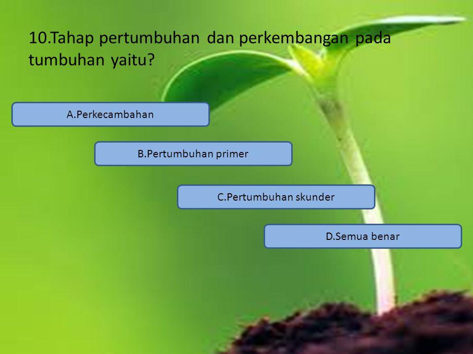 10.Tahap pertumbuhan dan perkembangan pada tumbuhan yaitu? A.Perkecambahan C.Pertumbuhan skunder B.Pertumbuhan primer D.Semua benar