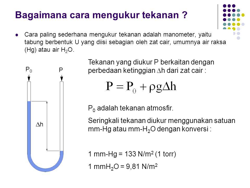 Bagaimana cara mengukur tekanan ? Cara paling sederhana mengukur tekanan adalah manometer, yaitu tabung berbentuk U yang diisi sebagian oleh zat cair,