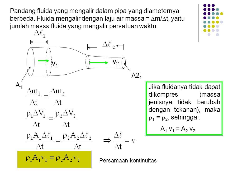 A1A1 A2 1 v1v1 v2v2 Pandang fluida yang mengalir dalam pipa yang diameternya berbeda. Fluida mengalir dengan laju air massa =  m/  t, yaitu jumlah m