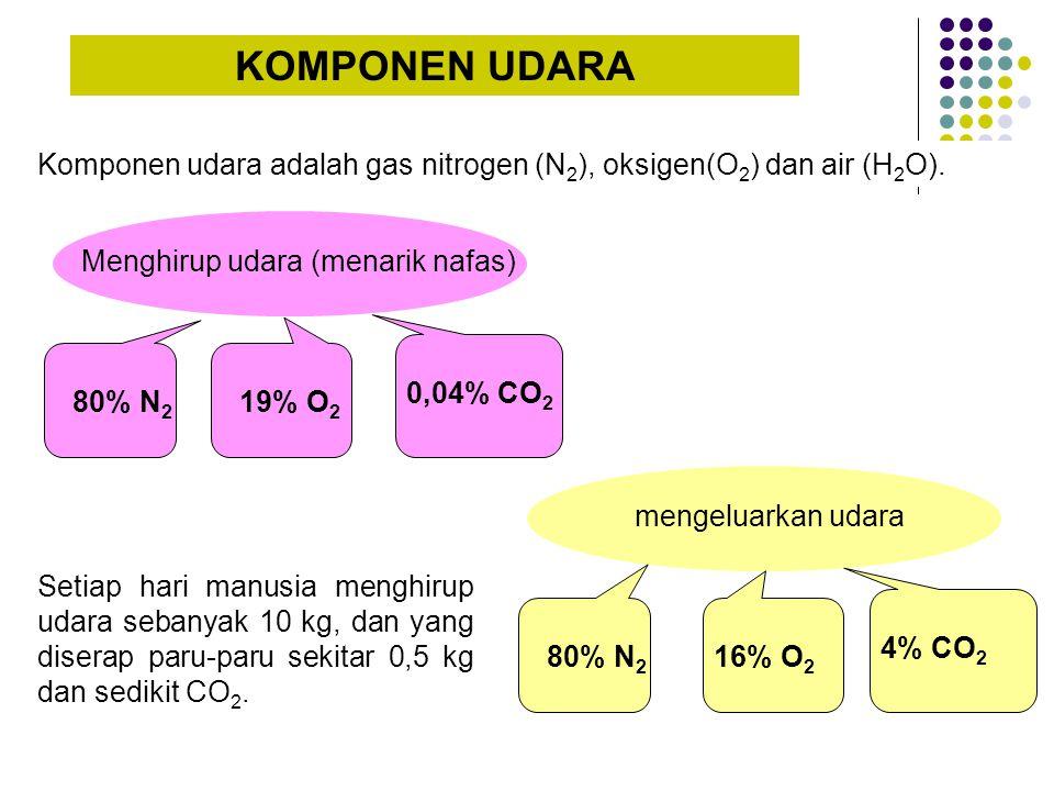 KOMPONEN UDARA Komponen udara adalah gas nitrogen (N 2 ), oksigen(O 2 ) dan air (H 2 O). Menghirup udara (menarik nafas) 80% N 2 19% O 2 0,04% CO 2 me
