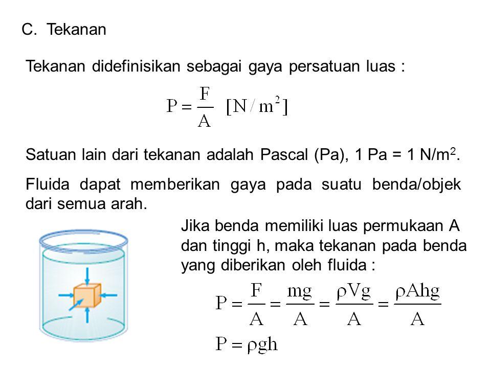 Tekanan didefinisikan sebagai gaya persatuan luas : Satuan lain dari tekanan adalah Pascal (Pa), 1 Pa = 1 N/m 2. Fluida dapat memberikan gaya pada sua