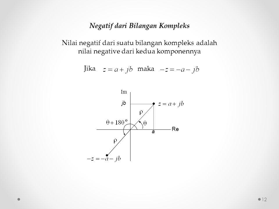 Negatif dari Bilangan Kompleks Nilai negatif dari suatu bilangan kompleks adalah nilai negative dari kedua komponennya Jika maka Re Im a jb 12