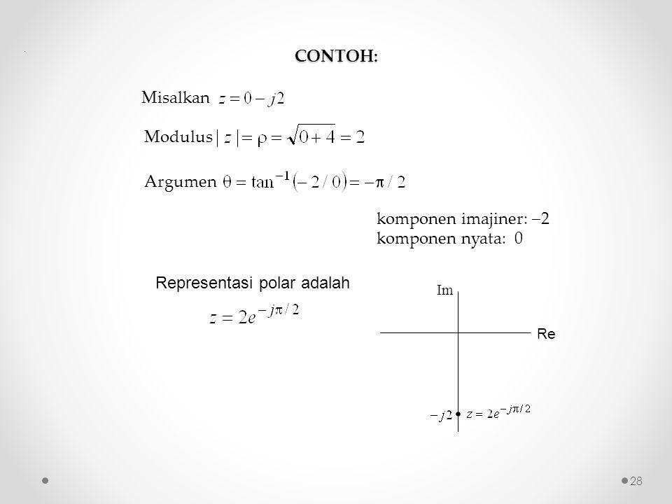 CONTOH: Misalkan Modulus Argumen komponen imajiner:  2 komponen nyata: 0 Representasi polar adalah.