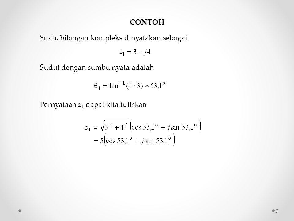 CONTOH Suatu bilangan kompleks dinyatakan sebagai Sudut dengan sumbu nyata adalah Pernyataan z 1 dapat kita tuliskan 9