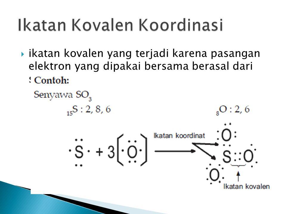  ikatan kovalen yang terjadi karena pasangan elektron yang dipakai bersama berasal dari salah satu atom yang berikatan.