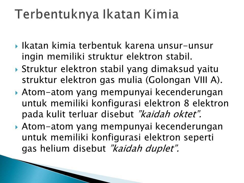  Ikatan kimia terbentuk karena unsur-unsur ingin memiliki struktur elektron stabil.  Struktur elektron stabil yang dimaksud yaitu struktur elektron
