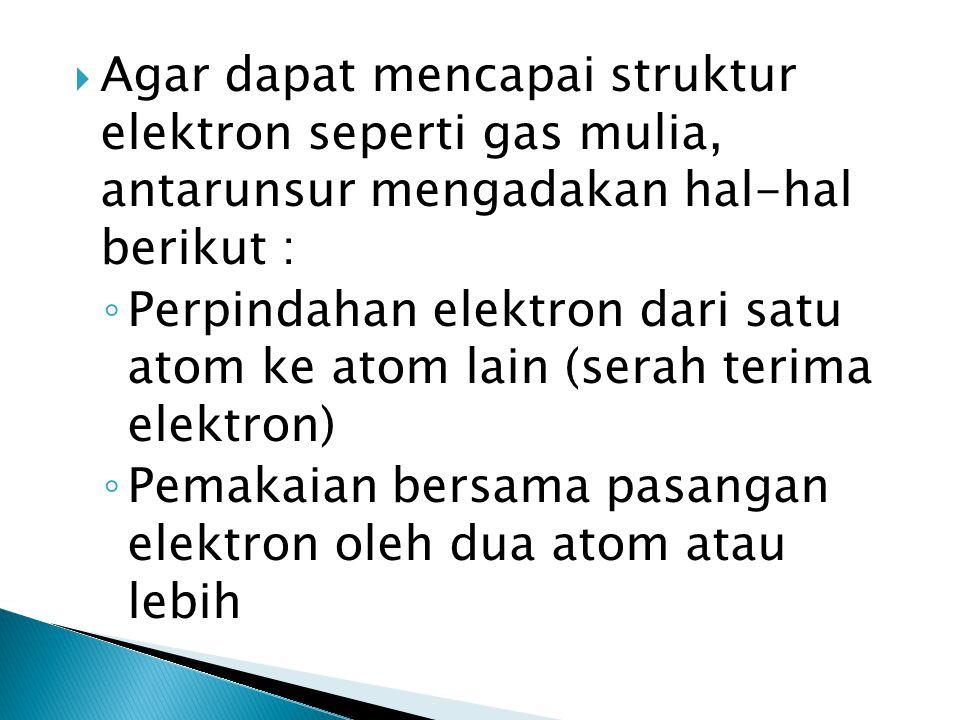  Agar dapat mencapai struktur elektron seperti gas mulia, antarunsur mengadakan hal-hal berikut : ◦ Perpindahan elektron dari satu atom ke atom lain