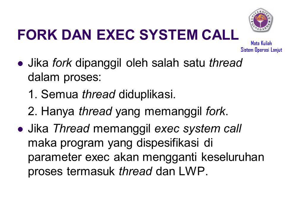 Mata Kuliah Sistem Operasi Lanjut FORK DAN EXEC SYSTEM CALL Jika fork dipanggil oleh salah satu thread dalam proses: 1.