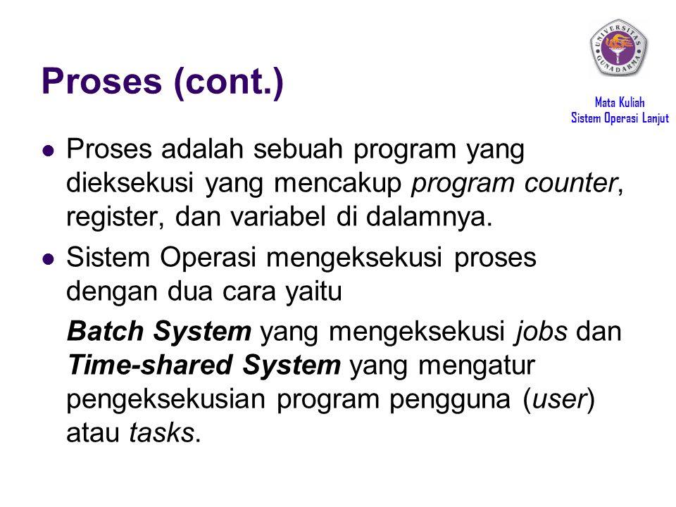 Mata Kuliah Sistem Operasi Lanjut Proses (cont.) Proses adalah sebuah program yang dieksekusi yang mencakup program counter, register, dan variabel di dalamnya.