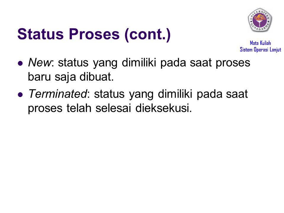 Mata Kuliah Sistem Operasi Lanjut Status Proses (cont.) New: status yang dimiliki pada saat proses baru saja dibuat.