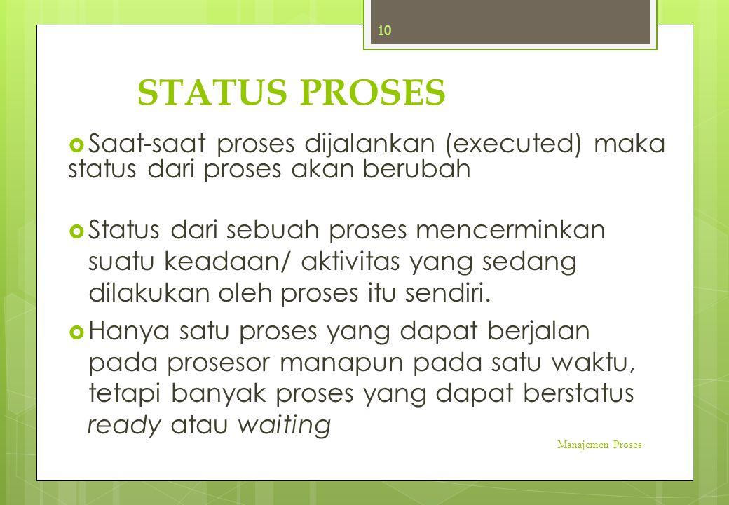STATUS PROSES  Saat-saat proses dijalankan (executed) maka status dari proses akan berubah  Status dari sebuah proses mencerminkan suatu keadaan/ ak