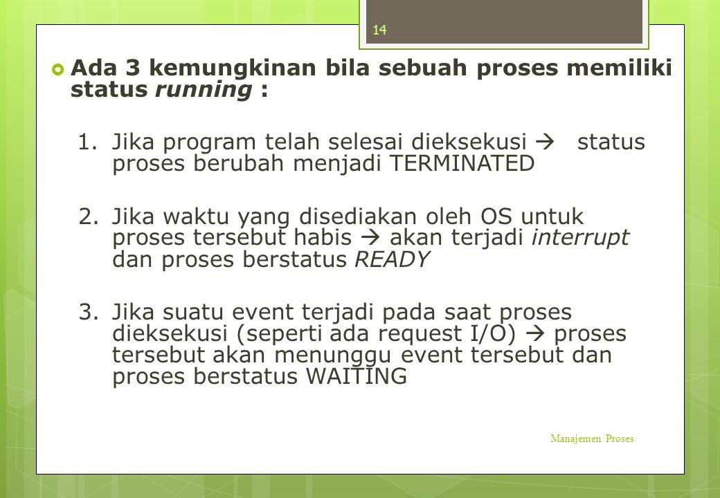  Ada 3 kemungkinan bila sebuah proses memiliki status running : 1. Jika program telah selesai dieksekusi  status proses berubah menjadi TERMINATED 2