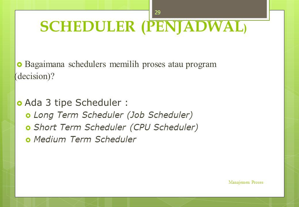 SCHEDULER (PENJADWAL )  Bagaimana schedulers memilih proses atau program (decision)?  Ada 3 tipe Scheduler :  Long Term Scheduler (Job Scheduler) 