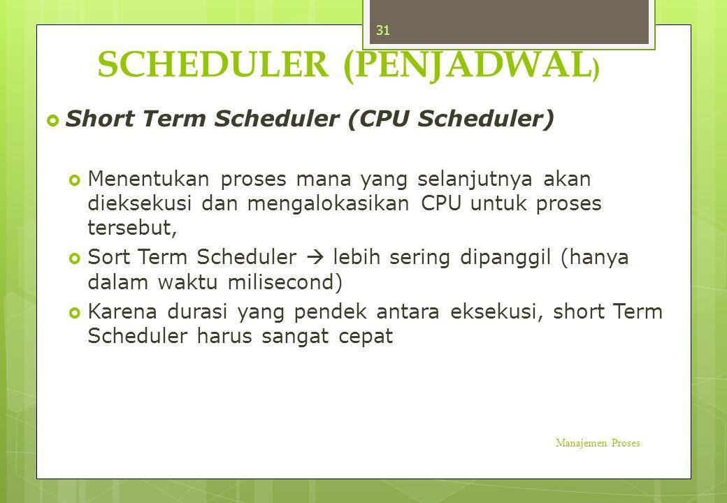 SCHEDULER (PENJADWAL )  Short Term Scheduler (CPU Scheduler)  Menentukan proses mana yang selanjutnya akan dieksekusi dan mengalokasikan CPU untuk p