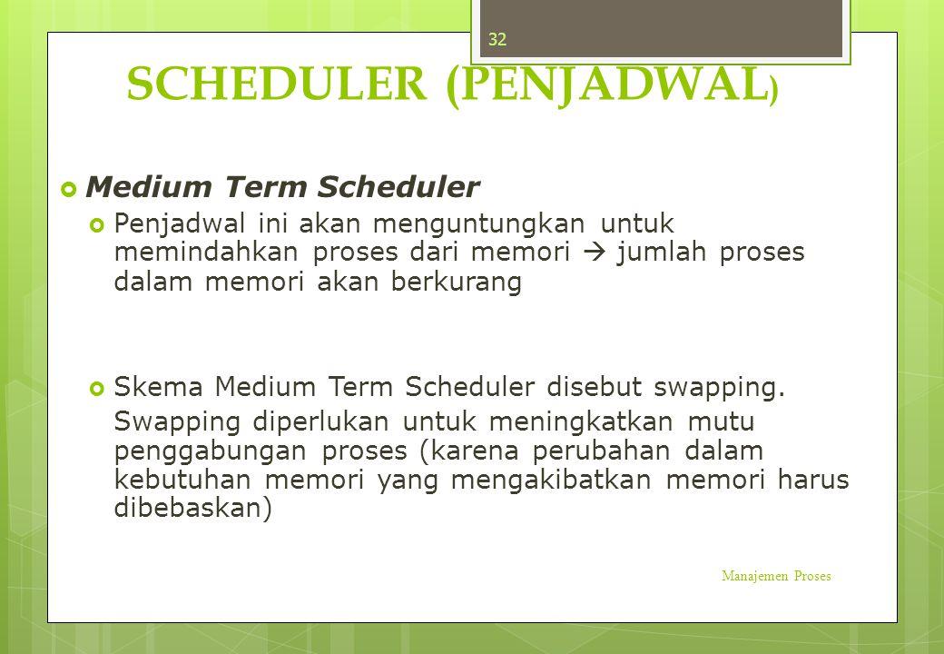 SCHEDULER (PENJADWAL )  Medium Term Scheduler  Penjadwal ini akan menguntungkan untuk memindahkan proses dari memori  jumlah proses dalam memori ak