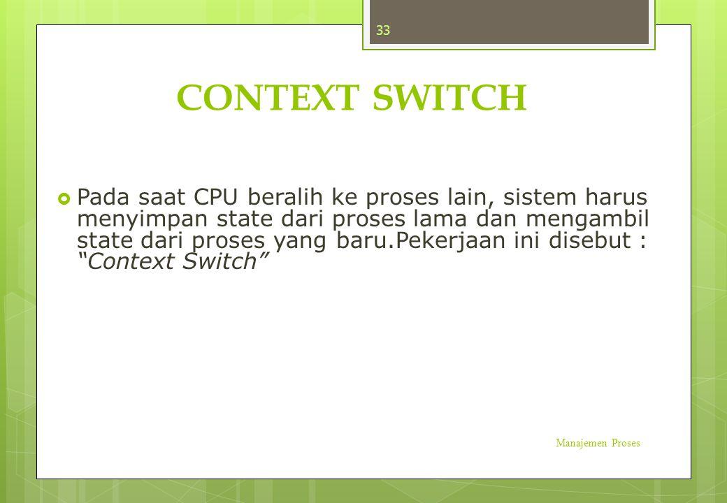 CONTEXT SWITCH  Pada saat CPU beralih ke proses lain, sistem harus menyimpan state dari proses lama dan mengambil state dari proses yang baru.Pekerja