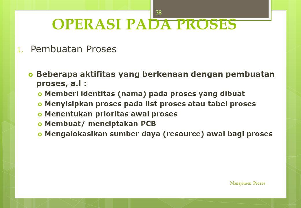 OPERASI PADA PROSES 1. Pembuatan Proses  Beberapa aktifitas yang berkenaan dengan pembuatan proses, a.l :  Memberi identitas (nama) pada proses yang