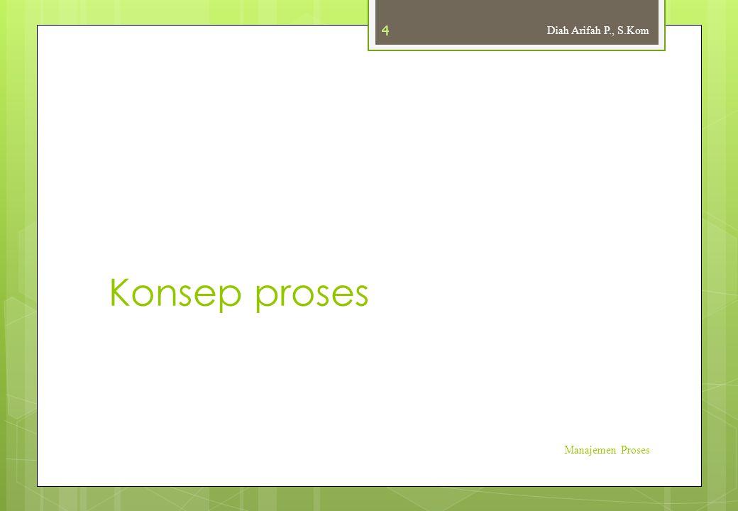 Process Control Block (PCB)  Setiap proses dalam sebuah sistem operasi mendapatkan sebuah PCB (Process Control Block) yang memuat informasi tentang proses tersebut.