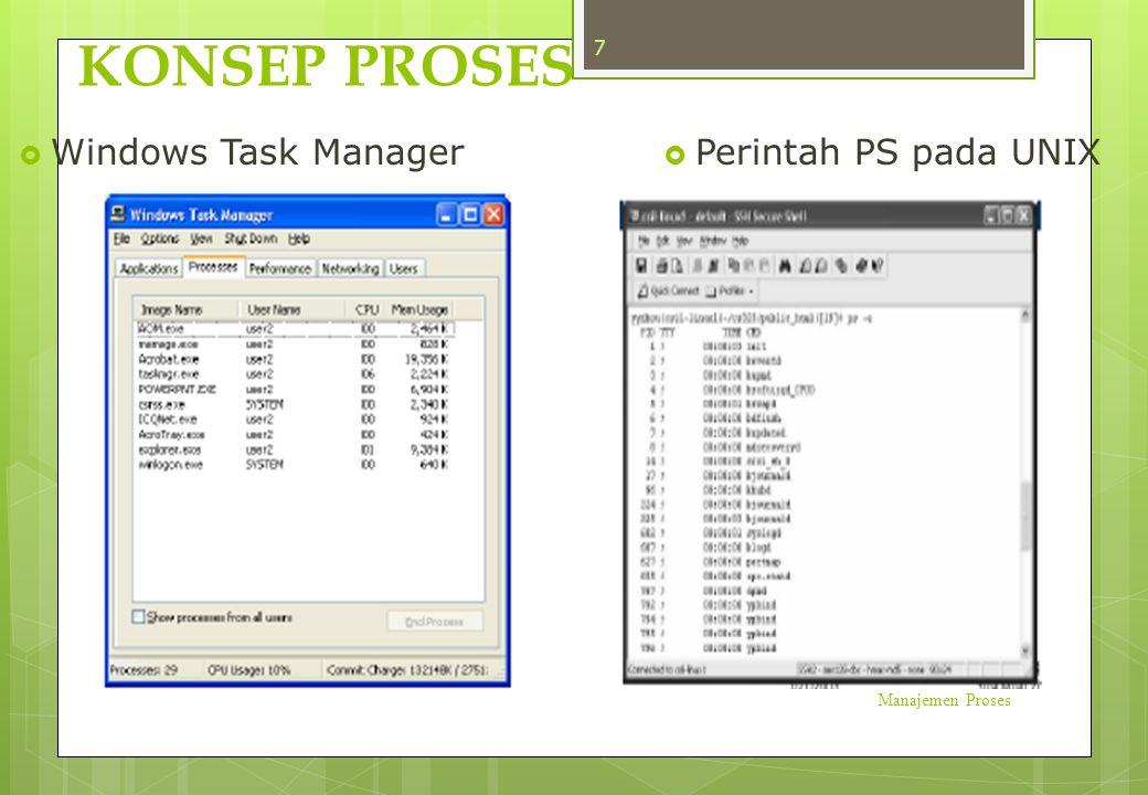 PCB berisi informasi dari proses:  Status Proses  Status yang mungkin dimiliki oleh setiap proses : new, ready, running, waiting, terminated  Program Counter  Menunjukkan alamat berikutnya yang akan dieksekusi oleh proses tersebut Manajemen Proses 18