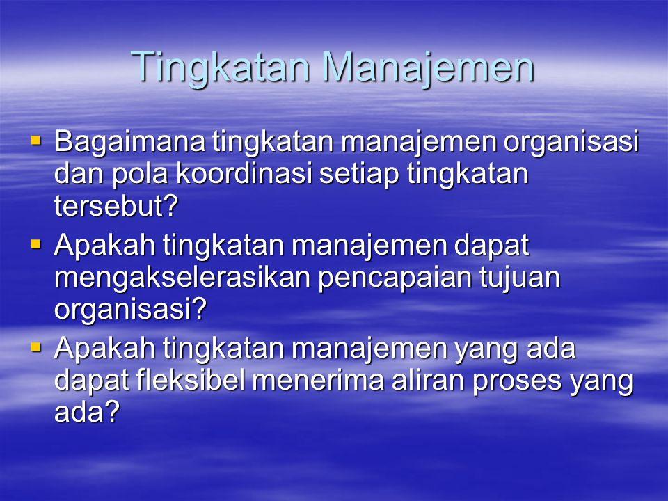 Tingkatan Manajemen  Bagaimana tingkatan manajemen organisasi dan pola koordinasi setiap tingkatan tersebut?  Apakah tingkatan manajemen dapat menga