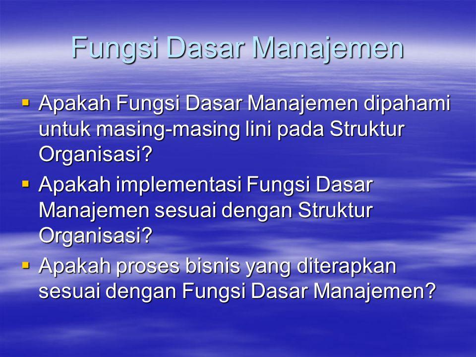 Fungsi Dasar Manajemen  Apakah Fungsi Dasar Manajemen dipahami untuk masing-masing lini pada Struktur Organisasi?  Apakah implementasi Fungsi Dasar