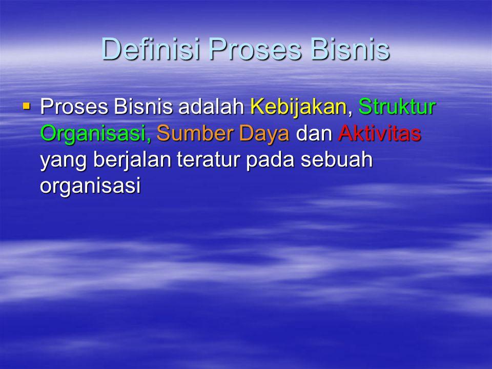 Definisi Proses Bisnis  Proses Bisnis adalah Kebijakan, Struktur Organisasi, Sumber Daya dan Aktivitas yang berjalan teratur pada sebuah organisasi