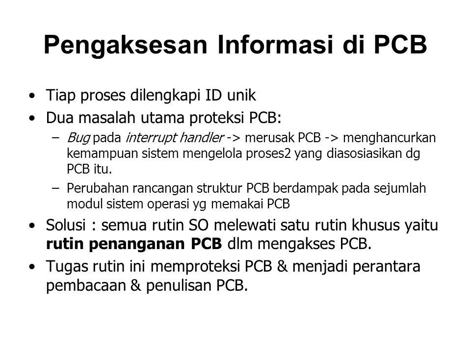 Pengaksesan Informasi di PCB Tiap proses dilengkapi ID unik Dua masalah utama proteksi PCB: –Bug pada interrupt handler -> merusak PCB -> menghancurka