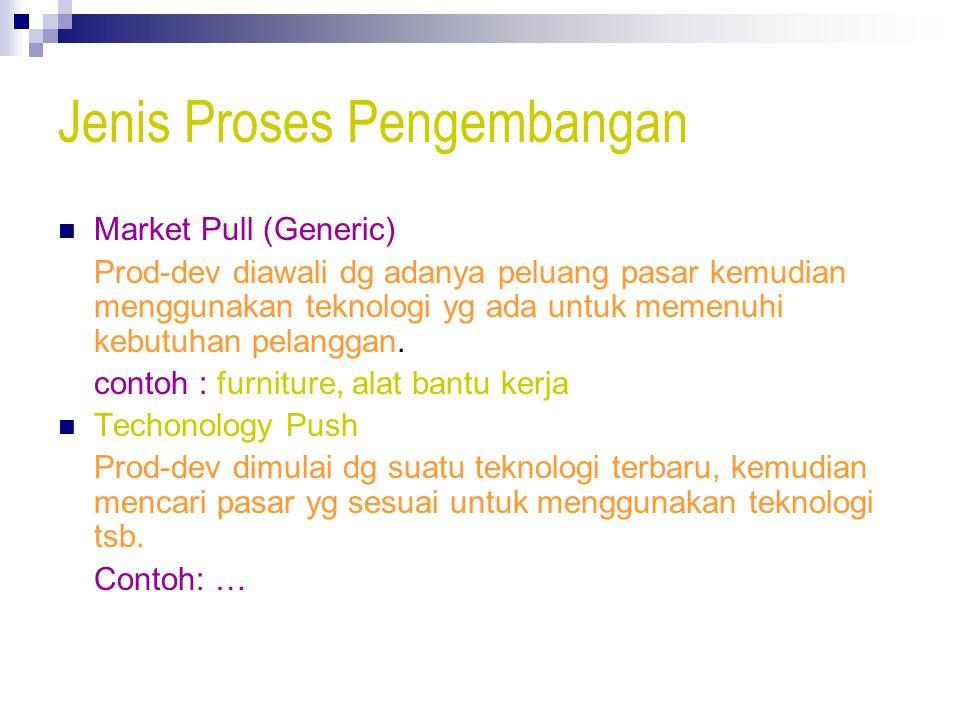 Jenis Proses Pengembangan Market Pull (Generic) Prod-dev diawali dg adanya peluang pasar kemudian menggunakan teknologi yg ada untuk memenuhi kebutuhan pelanggan.