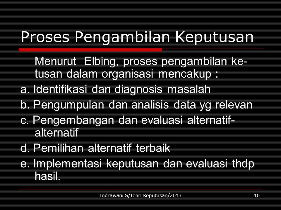 Indrawani S/Teori Keputusan/201316 Proses Pengambilan Keputusan Menurut Elbing, proses pengambilan ke- tusan dalam organisasi mencakup : a. Identifika