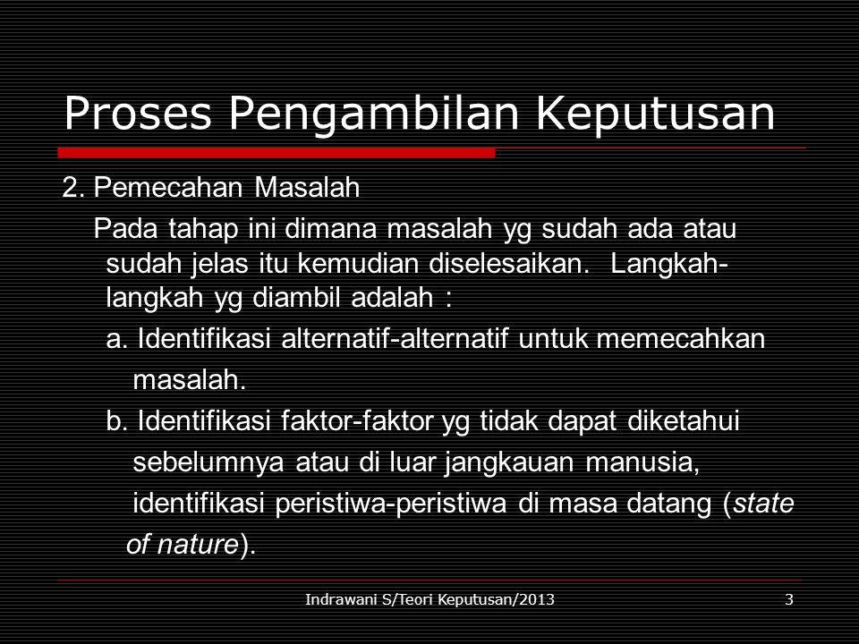 Indrawani S/Teori Keputusan/20133 Proses Pengambilan Keputusan 2. Pemecahan Masalah Pada tahap ini dimana masalah yg sudah ada atau sudah jelas itu ke