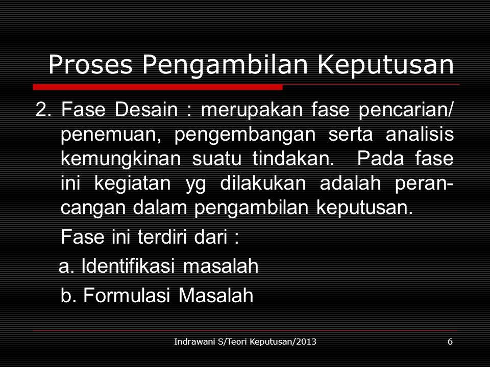 Indrawani S/Teori Keputusan/20136 Proses Pengambilan Keputusan 2. Fase Desain : merupakan fase pencarian/ penemuan, pengembangan serta analisis kemung