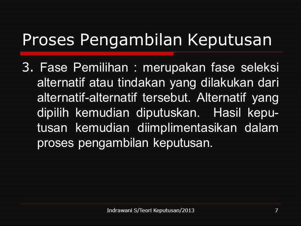 Indrawani S/Teori Keputusan/20137 Proses Pengambilan Keputusan 3. Fase Pemilihan : merupakan fase seleksi alternatif atau tindakan yang dilakukan dari