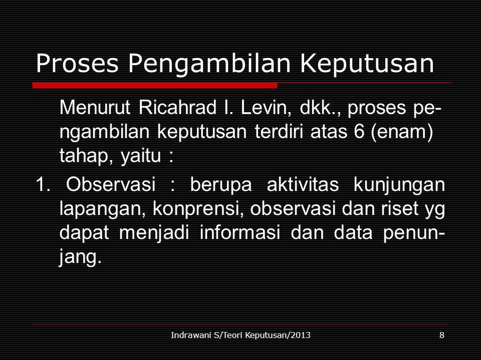 Indrawani S/Teori Keputusan/20138 Proses Pengambilan Keputusan Menurut Ricahrad I. Levin, dkk., proses pe- ngambilan keputusan terdiri atas 6 (enam) t
