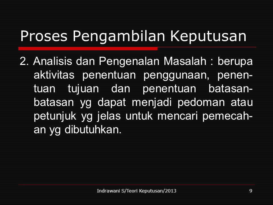Indrawani S/Teori Keputusan/20139 Proses Pengambilan Keputusan 2. Analisis dan Pengenalan Masalah : berupa aktivitas penentuan penggunaan, penen- tuan