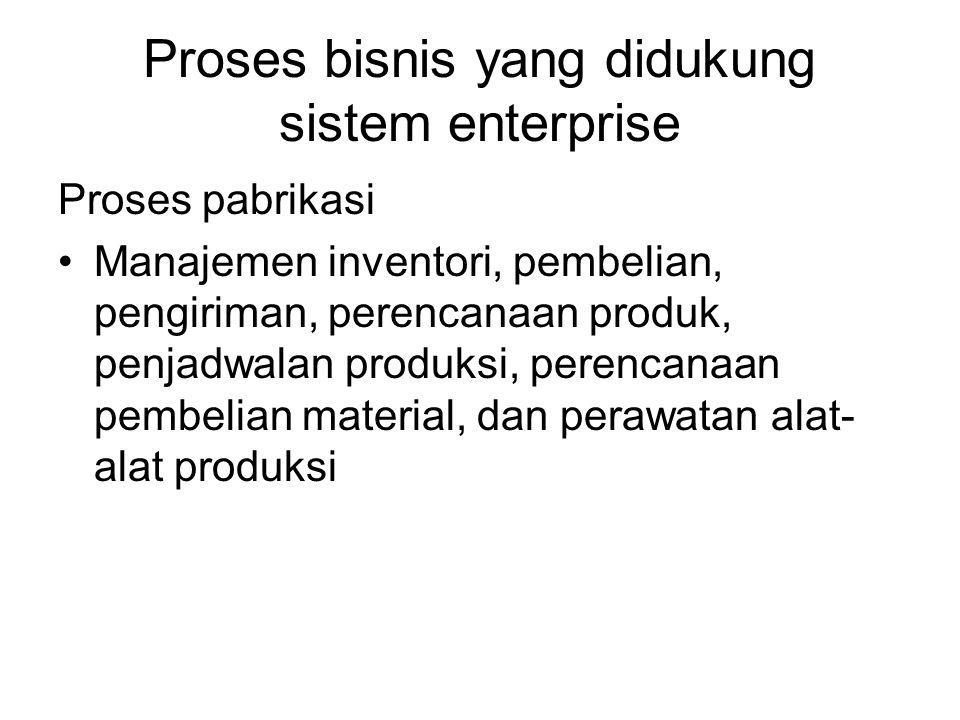 Proses bisnis yang didukung sistem enterprise Proses pabrikasi Manajemen inventori, pembelian, pengiriman, perencanaan produk, penjadwalan produksi, perencanaan pembelian material, dan perawatan alat- alat produksi