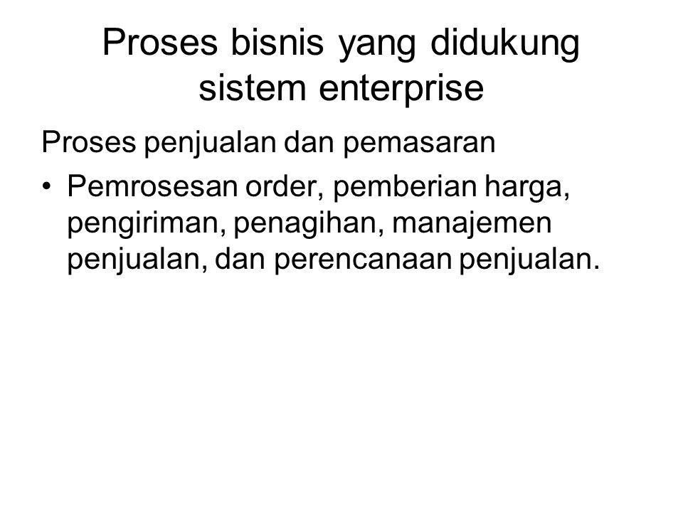 Proses bisnis yang didukung sistem enterprise Proses penjualan dan pemasaran Pemrosesan order, pemberian harga, pengiriman, penagihan, manajemen penjualan, dan perencanaan penjualan.