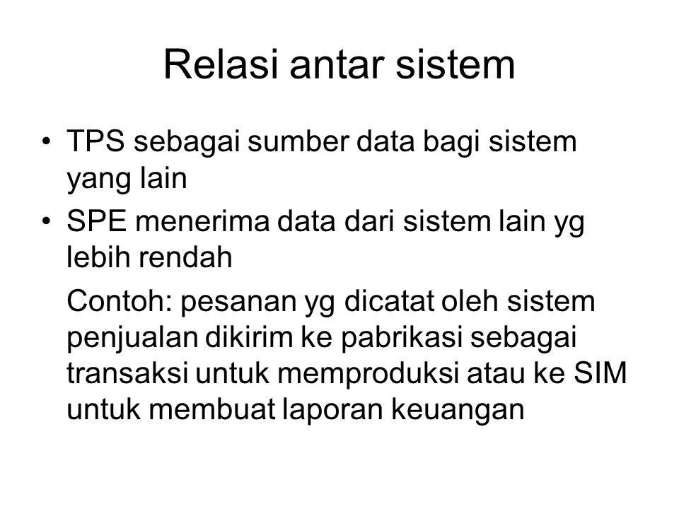 Relasi antar sistem TPS sebagai sumber data bagi sistem yang lain SPE menerima data dari sistem lain yg lebih rendah Contoh: pesanan yg dicatat oleh sistem penjualan dikirim ke pabrikasi sebagai transaksi untuk memproduksi atau ke SIM untuk membuat laporan keuangan