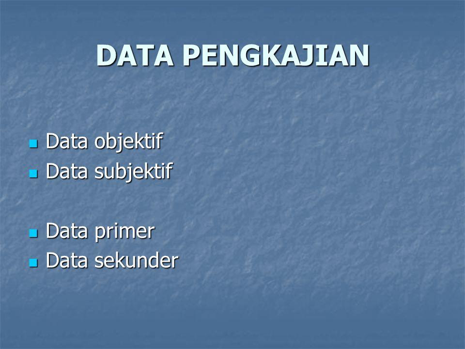 DATA PENGKAJIAN Data objektif Data objektif Data subjektif Data subjektif Data primer Data primer Data sekunder Data sekunder