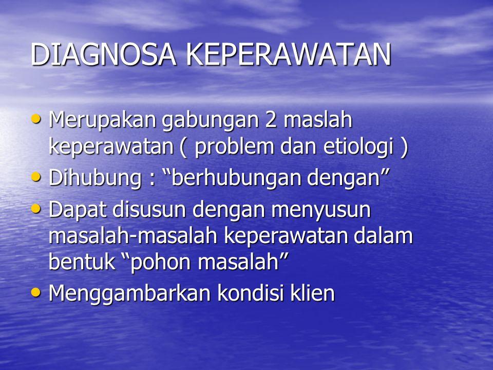 DIAGNOSA KEPERAWATAN Merupakan gabungan 2 maslah keperawatan ( problem dan etiologi ) Merupakan gabungan 2 maslah keperawatan ( problem dan etiologi )