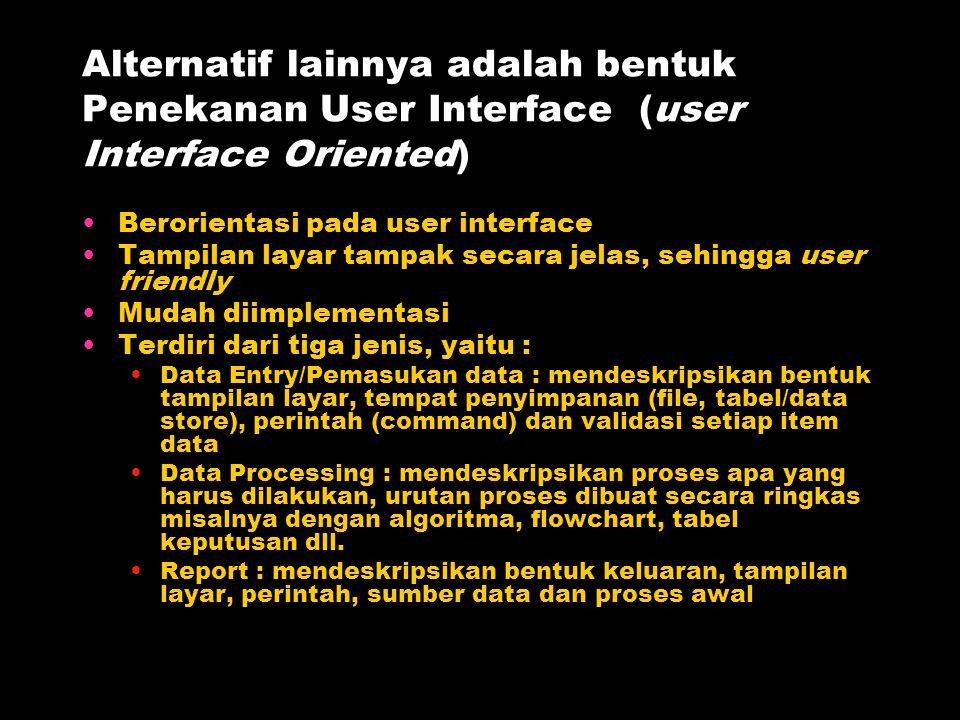 Alternatif lainnya adalah bentuk Penekanan User Interface (user Interface Oriented) Berorientasi pada user interface Tampilan layar tampak secara jela