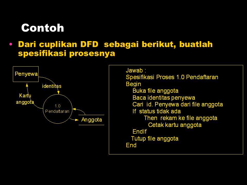 Contoh Dari cuplikan DFD sebagai berikut, buatlah spesifikasi prosesnya