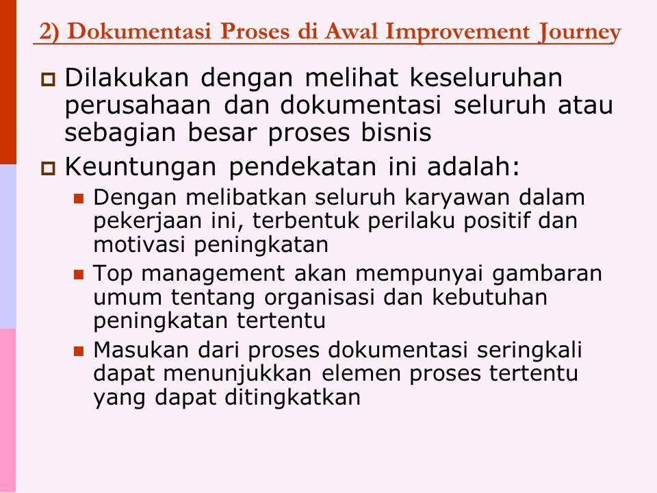 2) Dokumentasi Proses di Awal Improvement Journey  Dilakukan dengan melihat keseluruhan perusahaan dan dokumentasi seluruh atau sebagian besar proses