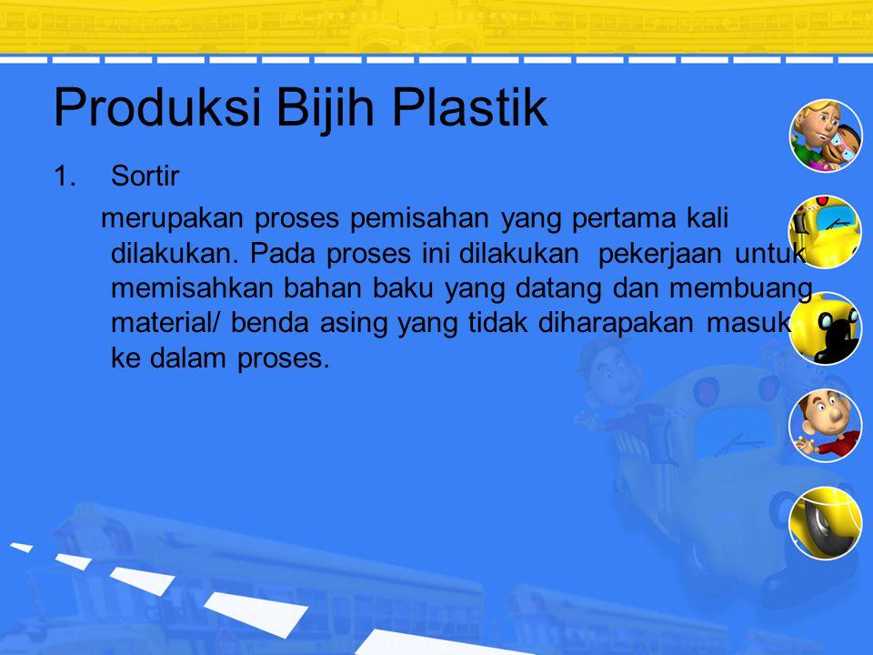 Tahapan Proses Tahapan proses daur ulang digolongkan menjadi 2 bagian besar, yaitu: Bagian proses sortir bahan baku yang menggunakan tenaga manusia. B