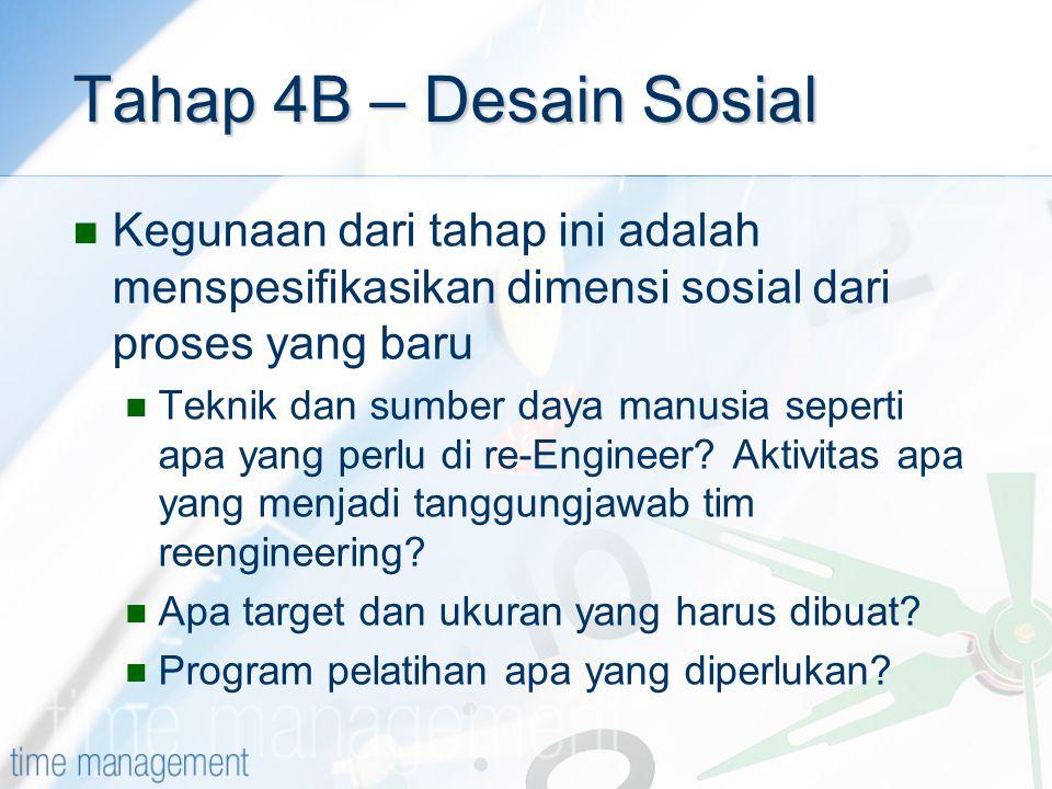 Tahap 4B – Desain Sosial Kegunaan dari tahap ini adalah menspesifikasikan dimensi sosial dari proses yang baru Teknik dan sumber daya manusia seperti